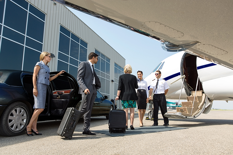 Business Professional About To Board Private Jet